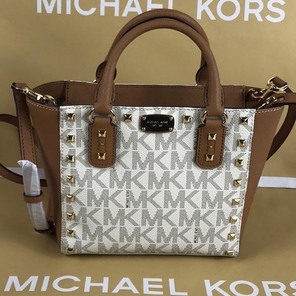 90536f4bd0cc Michael Kors Bags | Sandrine Stud Vanillaacorn Crossbody | Poshmark